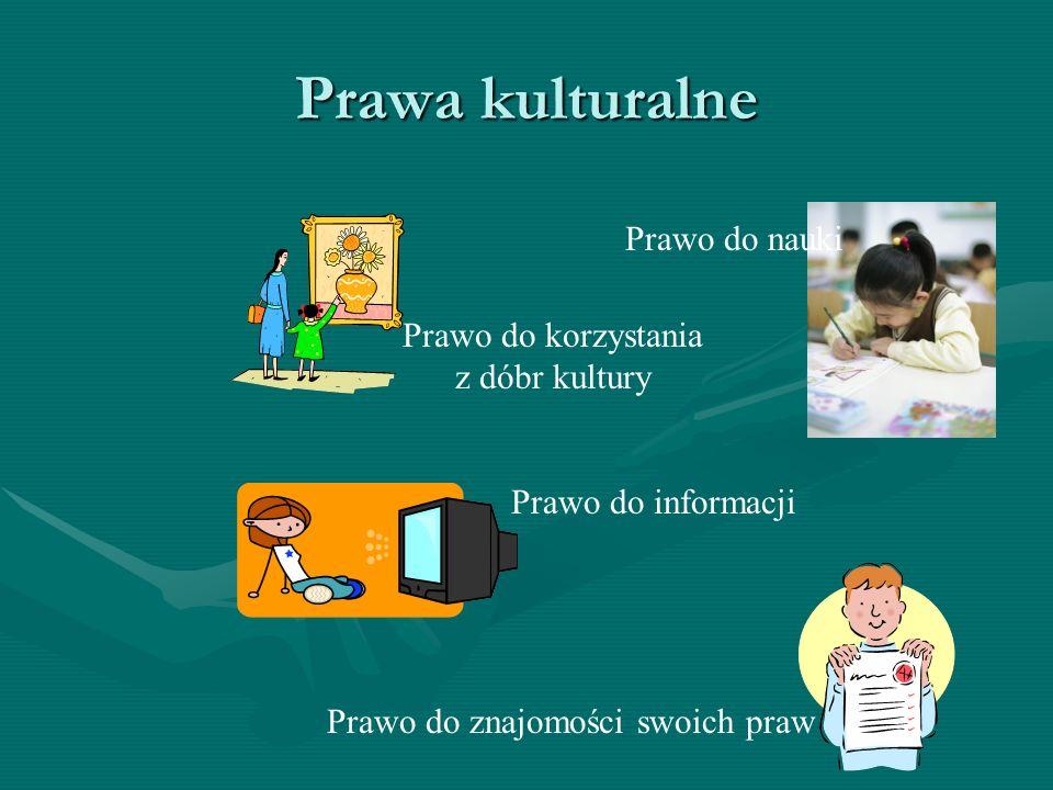 Prawa kulturalne Prawo do znajomości swoich praw Prawo do korzystania z dóbr kultury Prawo do informacji Prawo do nauki