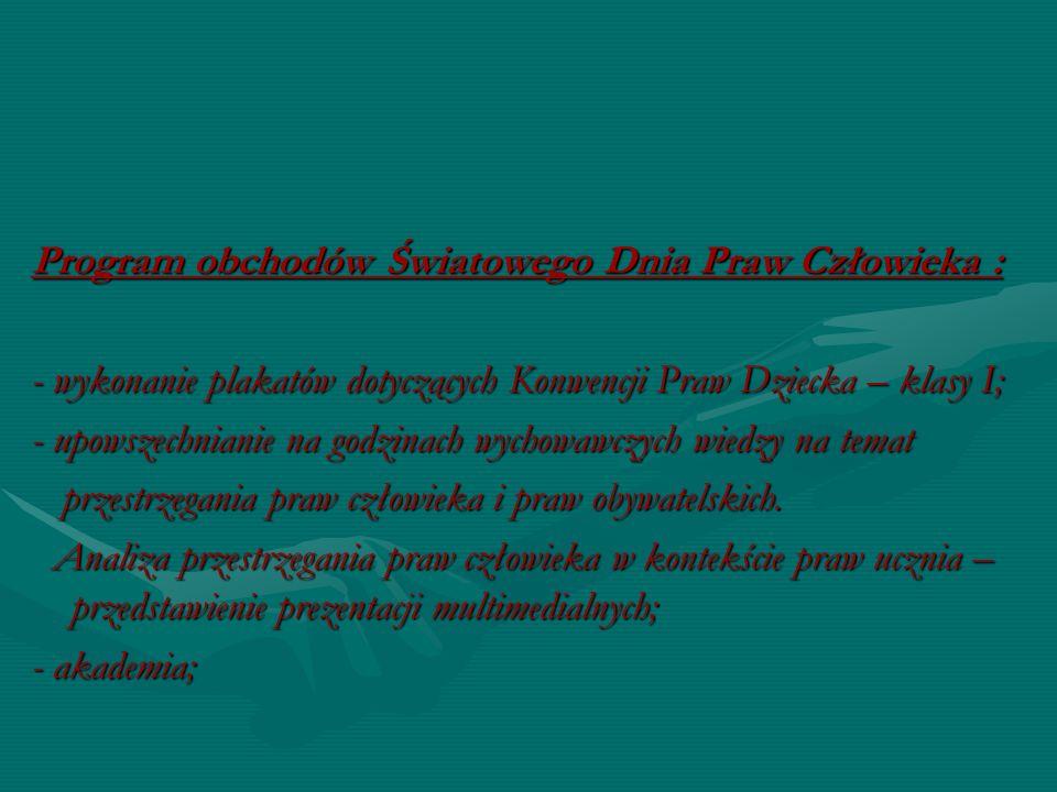 Program obchodów Światowego Dnia Praw Człowieka : - wykonanie plakatów dotyczących Konwencji Praw Dziecka – klasy I; - upowszechnianie na godzinach wy