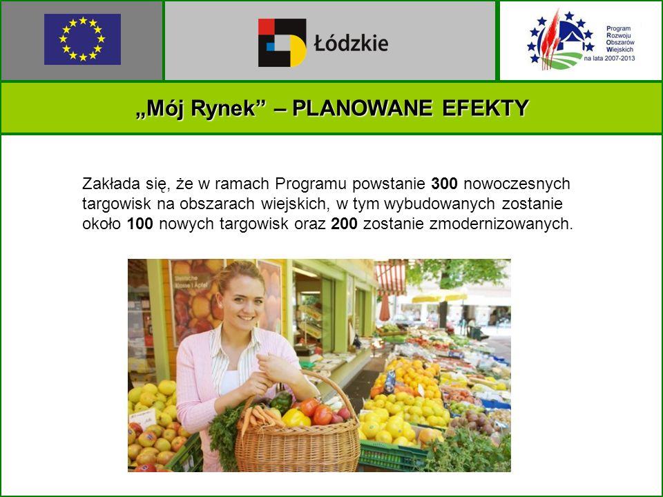Mój Rynek – PLANOWANE EFEKTY Zakłada się, że w ramach Programu powstanie 300 nowoczesnych targowisk na obszarach wiejskich, w tym wybudowanych zostanie około 100 nowych targowisk oraz 200 zostanie zmodernizowanych.