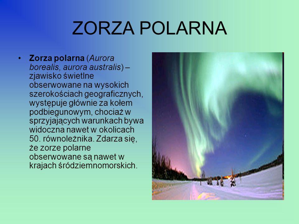 ZORZA POLARNA Zorza polarna (Aurora borealis, aurora australis) – zjawisko świetlne obserwowane na wysokich szerokościach geograficznych, występuje gł