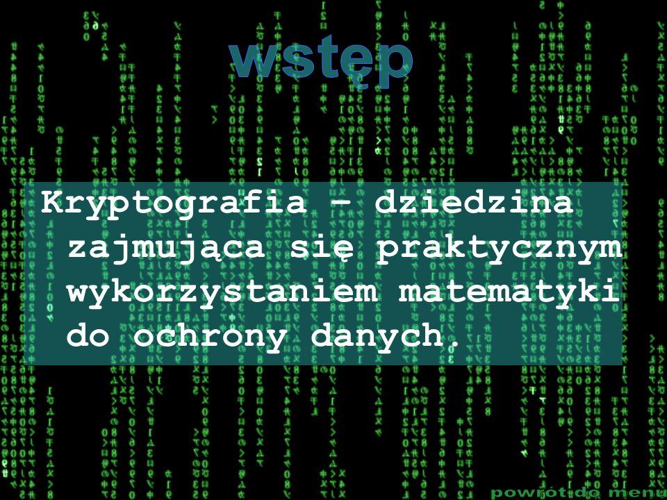 Kryptografia – dziedzina zajmująca się praktycznym wykorzystaniem matematyki do ochrony danych.