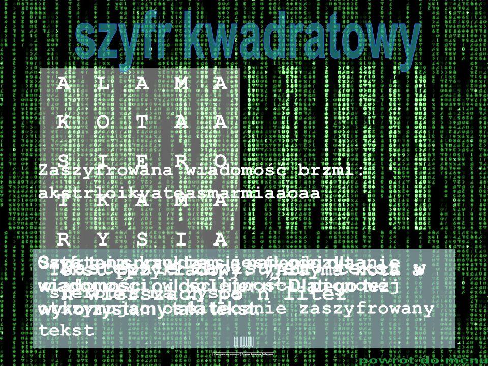 Szyfr ten sprawdza się najlepiej dla wiadomości o ilości liter n 2. Dlatego też wykorzystamy taki tekst. Następnie zapisujemy tekst w n wierszach po n