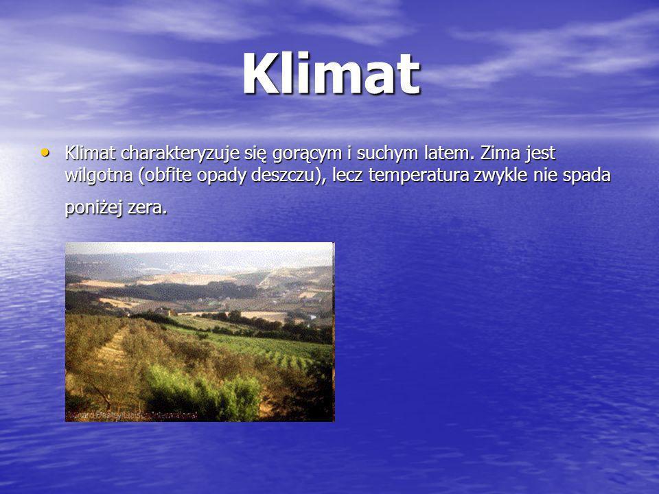 Klimat Klimat charakteryzuje się gorącym i suchym latem. Zima jest wilgotna (obfite opady deszczu), lecz temperatura zwykle nie spada poniżej zera. Kl