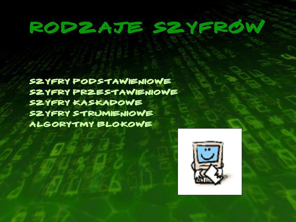 Rodzaje szyfrów Szyfry podstawieniowe Szyfry przestawieniowe Szyfry kaskadowe Szyfry strumieniowe Algorytmy blokowe