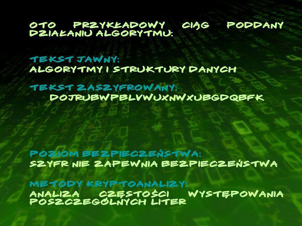 Oto przykładowy ciąg poddany działaniu algorytmu: Tekst jawny: Algorytmy i Struktury Danych Tekst zaszyfrowany: DojrubwpblVwuxnwxubGdqbfk Poziom bezpieczeństwa: szyfr nie zapewnia bezpieczeństwa Metody kryptoanalizy: analiza częstości występowania poszczególnych liter