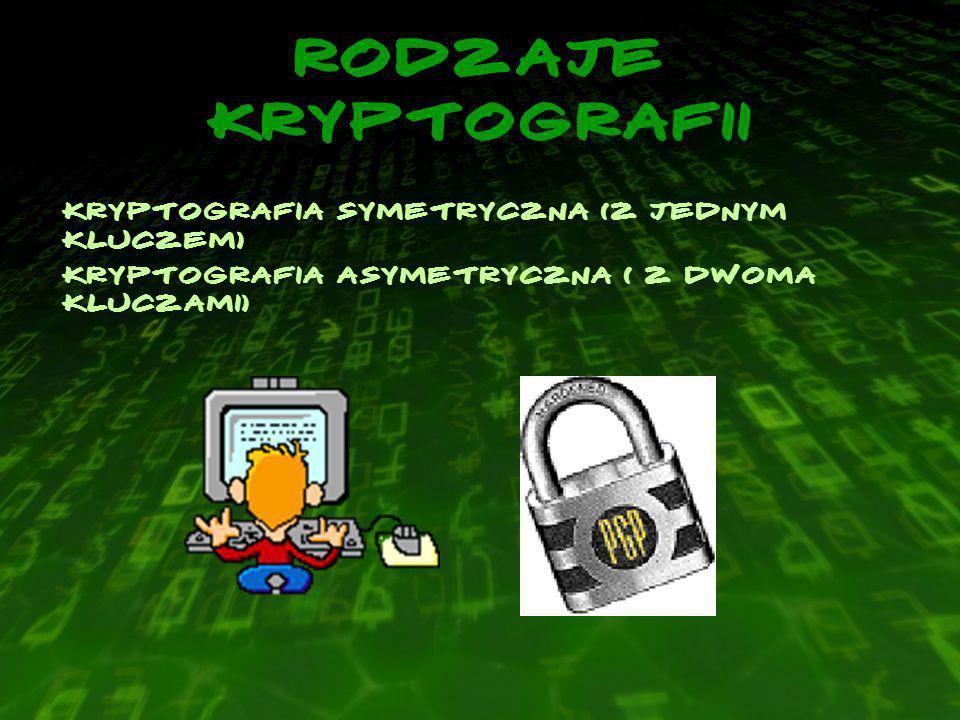 Rodzaje kryptografii Kryptografia Symetryczna (z jednym kluczem) Kryptografia Asymetryczna ( z dwoma kluczami)