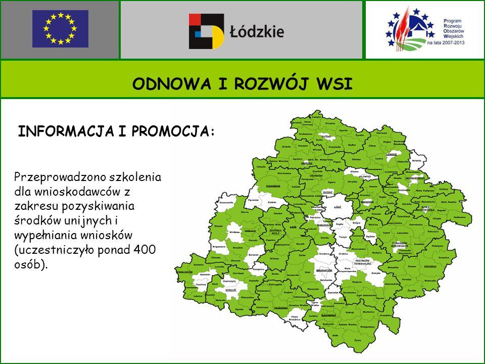 ODNOWA I ROZWÓJ WSI Przeprowadzono szkolenia dla wnioskodawców z zakresu pozyskiwania środków unijnych i wypełniania wniosków (uczestniczyło ponad 400 osób).
