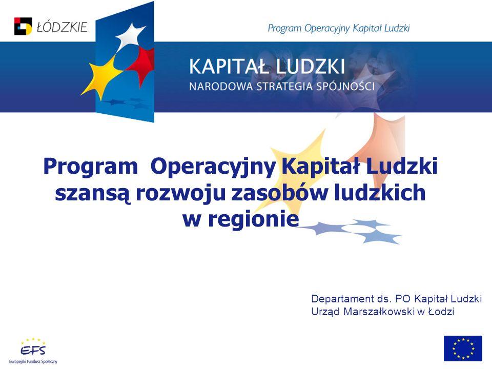 Program Operacyjny Kapitał Ludzki szansą rozwoju zasobów ludzkich w regionie Departament ds. PO Kapitał Ludzki Urząd Marszałkowski w Łodzi