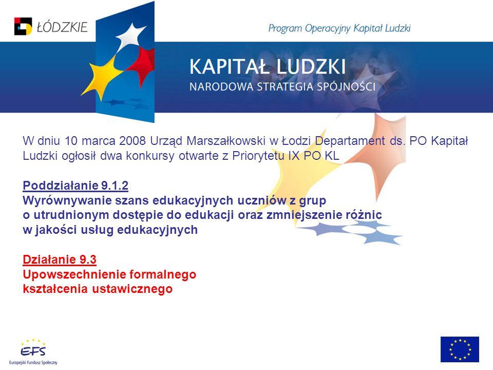 W dniu 10 marca 2008 Urząd Marszałkowski w Łodzi Departament ds. PO Kapitał Ludzki ogłosił dwa konkursy otwarte z Priorytetu IX PO KL Poddziałanie 9.1