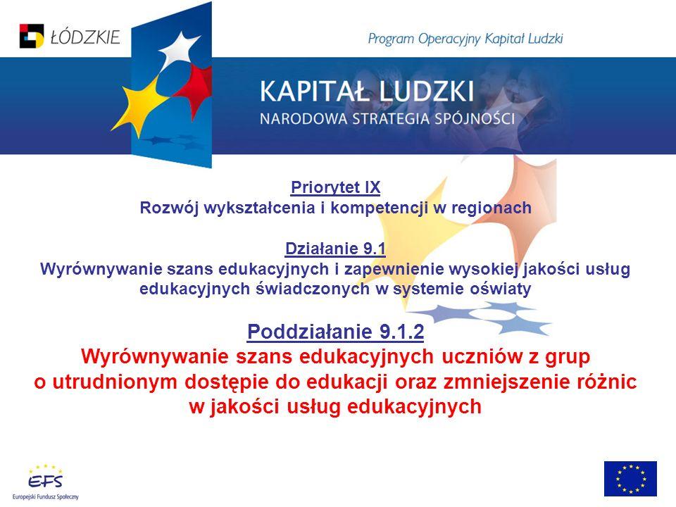 Priorytet IX Rozwój wykształcenia i kompetencji w regionach Działanie 9.1 Wyrównywanie szans edukacyjnych i zapewnienie wysokiej jakości usług edukacy