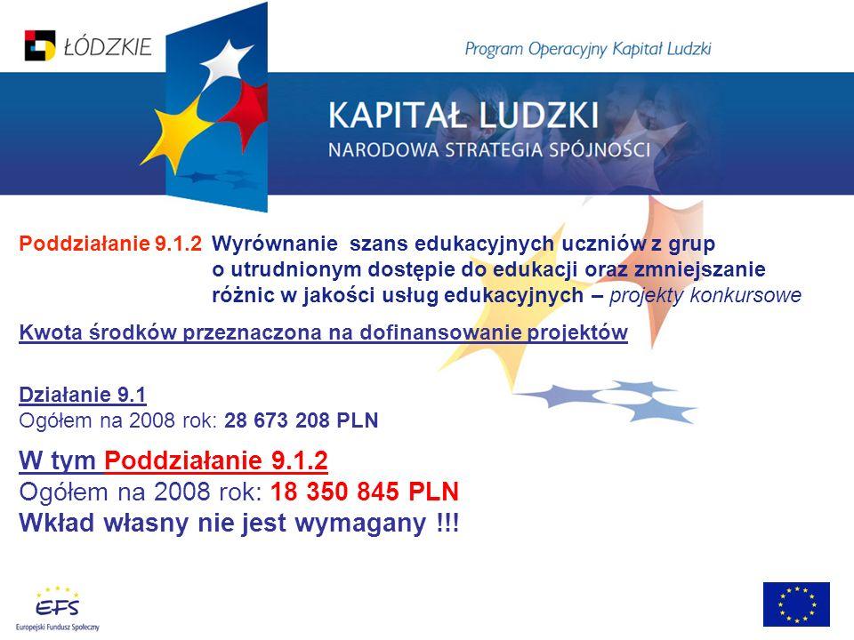 Poddziałanie 9.1.2 Wyrównanie szans edukacyjnych uczniów z grup o utrudnionym dostępie do edukacji oraz zmniejszanie różnic w jakości usług edukacyjnych – projekty konkursowe Kwota środków przeznaczona na dofinansowanie projektów Działanie 9.1 Ogółem na 2008 rok: 28 673 208 PLN W tym Poddziałanie 9.1.2 Ogółem na 2008 rok: 18 350 845 PLN Wkład własny nie jest wymagany !!!