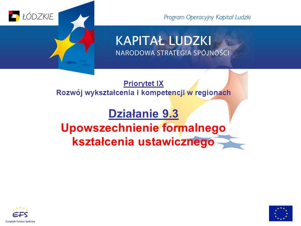Priorytet IX Rozwój wykształcenia i kompetencji w regionach Działanie 9.3 Upowszechnienie formalnego kształcenia ustawicznego