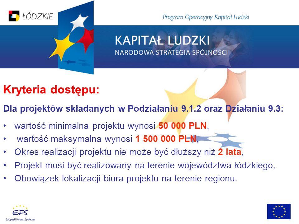 Kryteria dostępu: Dla projektów składanych w Podziałaniu 9.1.2 oraz Działaniu 9.3: wartość minimalna projektu wynosi 50 000 PLN, wartość maksymalna wy