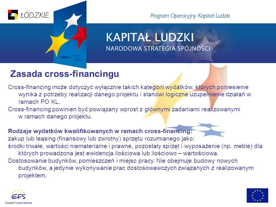 Zasada cross-financingu Cross-financing może dotyczyć wyłącznie takich kategorii wydatków, których poniesienie wynika z potrzeby realizacji danego projektu i stanowi logiczne uzupełnienie działań w ramach PO KL.