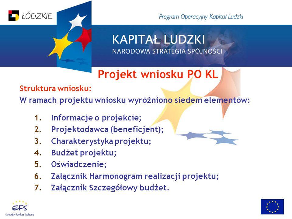 Struktura wniosku: W ramach projektu wniosku wyróżniono siedem elementów: 1.Informacje o projekcie; 2.Projektodawca (beneficjent); 3.Charakterystyka projektu; 4.Budżet projektu; 5.Oświadczenie; 6.Załącznik Harmonogram realizacji projektu; 7.Załącznik Szczegółowy budżet.