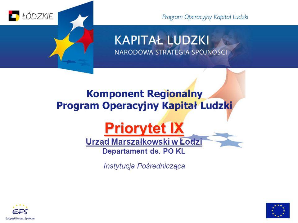 Komponent Regionalny Program Operacyjny Kapitał Ludzki Priorytet IX Urząd Marszałkowski w Łodzi Departament ds. PO KL Instytucja Pośrednicząca