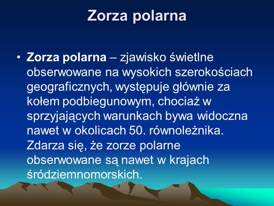 Zorza polarna Zorza polarna – zjawisko świetlne obserwowane na wysokich szerokościach geograficznych, występuje głównie za kołem podbiegunowym, chocia