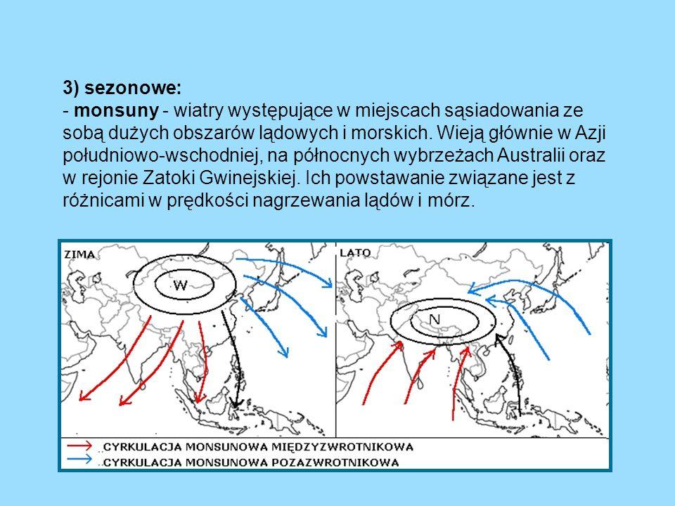 3) sezonowe: - monsuny - wiatry występujące w miejscach sąsiadowania ze sobą dużych obszarów lądowych i morskich. Wieją głównie w Azji południowo-wsch