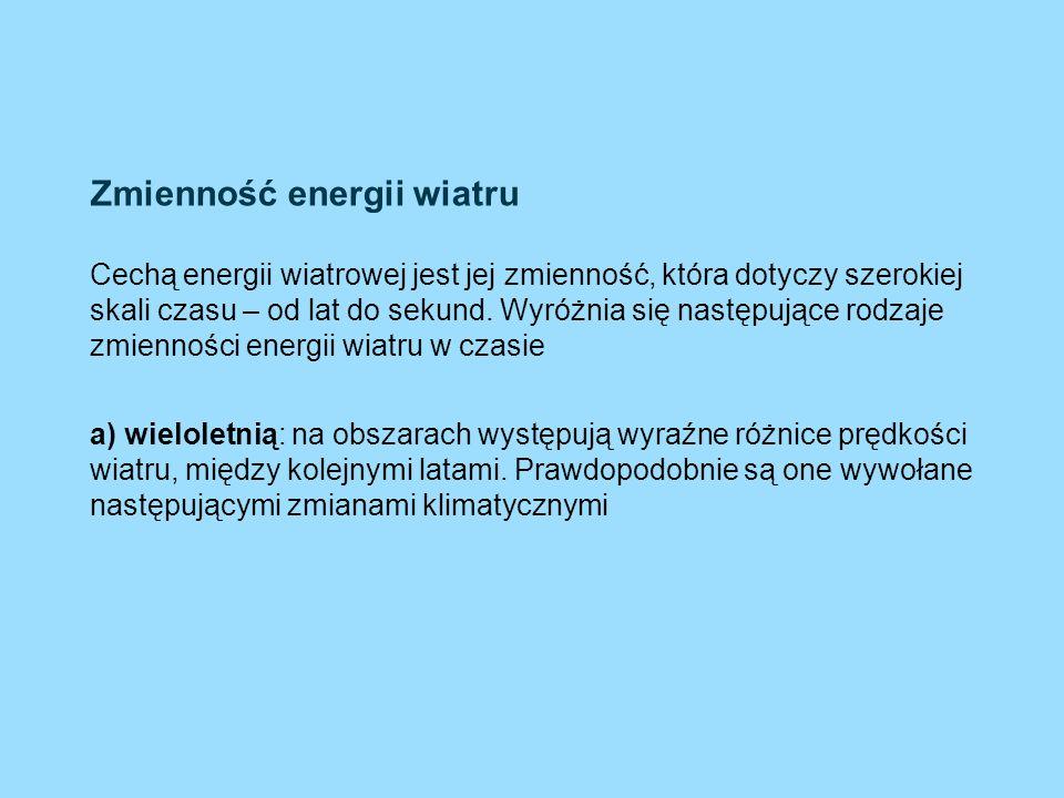 Zmienność energii wiatru Cechą energii wiatrowej jest jej zmienność, która dotyczy szerokiej skali czasu – od lat do sekund. Wyróżnia się następujące