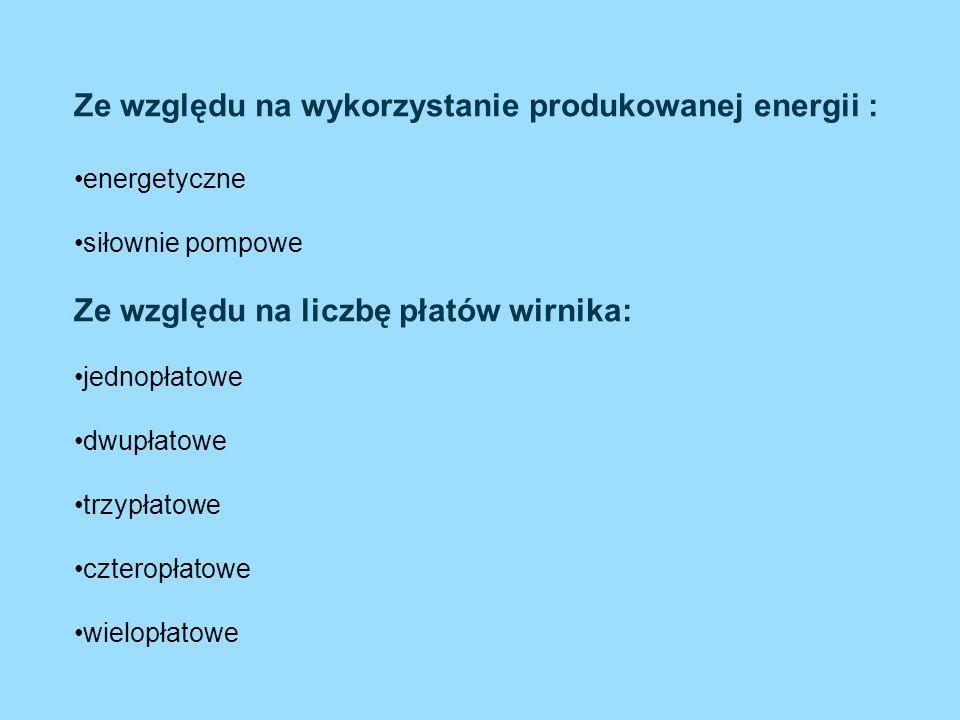Ze względu na wykorzystanie produkowanej energii : energetyczne siłownie pompowe Ze względu na liczbę płatów wirnika: jednopłatowe dwupłatowe trzypłat