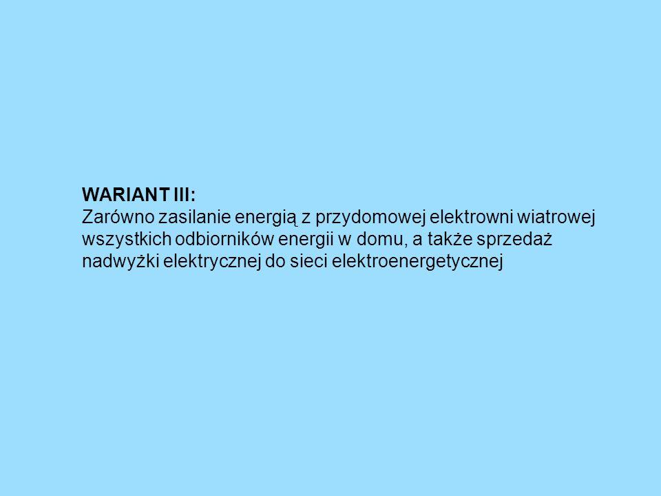WARIANT III: Zarówno zasilanie energią z przydomowej elektrowni wiatrowej wszystkich odbiorników energii w domu, a także sprzedaż nadwyżki elektryczne