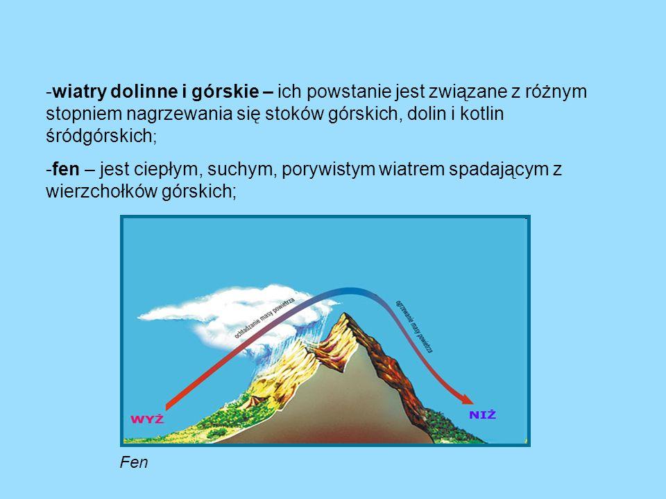 -wiatry dolinne i górskie – ich powstanie jest związane z różnym stopniem nagrzewania się stoków górskich, dolin i kotlin śródgórskich ; -fen – jest c