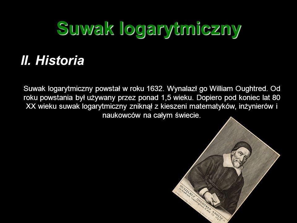 III.Rodzaje suwaków: Suwaki logarytmiczne dzielą się na wiele rodzajów.