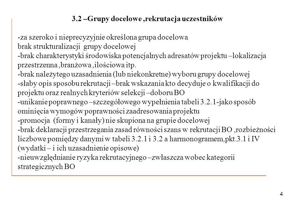 4 3.2 –Grupy docelowe,rekrutacja uczestników -za szeroko i nieprecyzyjnie określona grupa docelowa brak strukturalizacji grupy docelowej -brak charakt