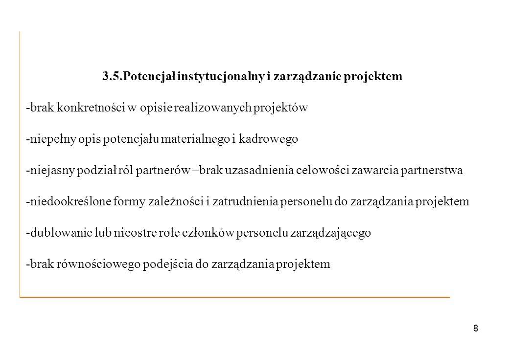 8 3.5.Potencjał instytucjonalny i zarządzanie projektem -brak konkretności w opisie realizowanych projektów -niepełny opis potencjału materialnego i k