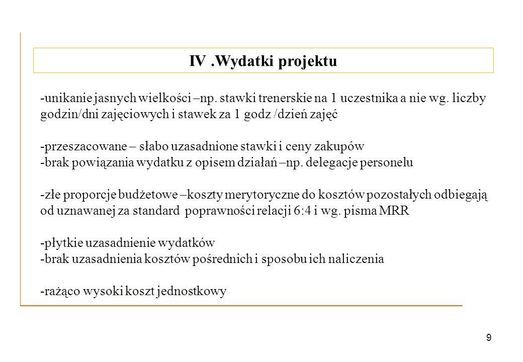 9 IV.Wydatki projektu -unikanie jasnych wielkości –np. stawki trenerskie na 1 uczestnika a nie wg. liczby godzin/dni zajęciowych i stawek za 1 godz /d