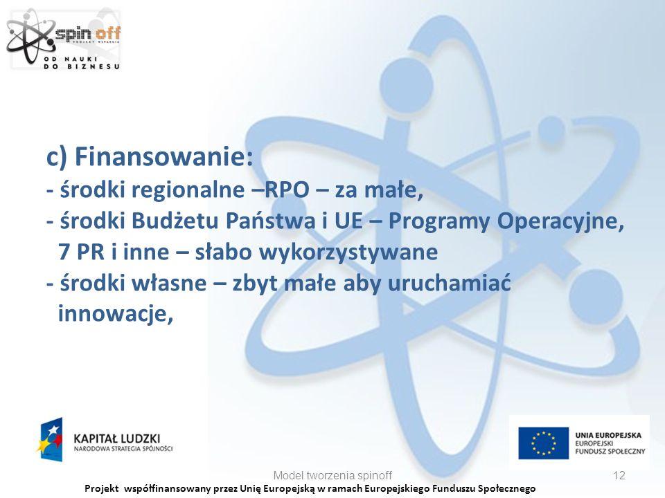 Projekt współfinansowany przez Unię Europejską w ramach Europejskiego Funduszu Społecznego c) Finansowanie: - środki regionalne –RPO – za małe, - środki Budżetu Państwa i UE – Programy Operacyjne, 7 PR i inne – słabo wykorzystywane - środki własne – zbyt małe aby uruchamiać innowacje, Model tworzenia spinoff12