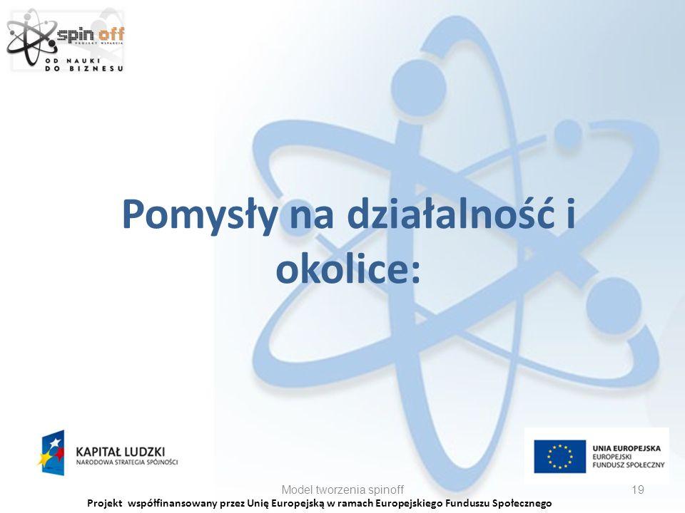 Projekt współfinansowany przez Unię Europejską w ramach Europejskiego Funduszu Społecznego Pomysły na działalność i okolice: Model tworzenia spinoff19