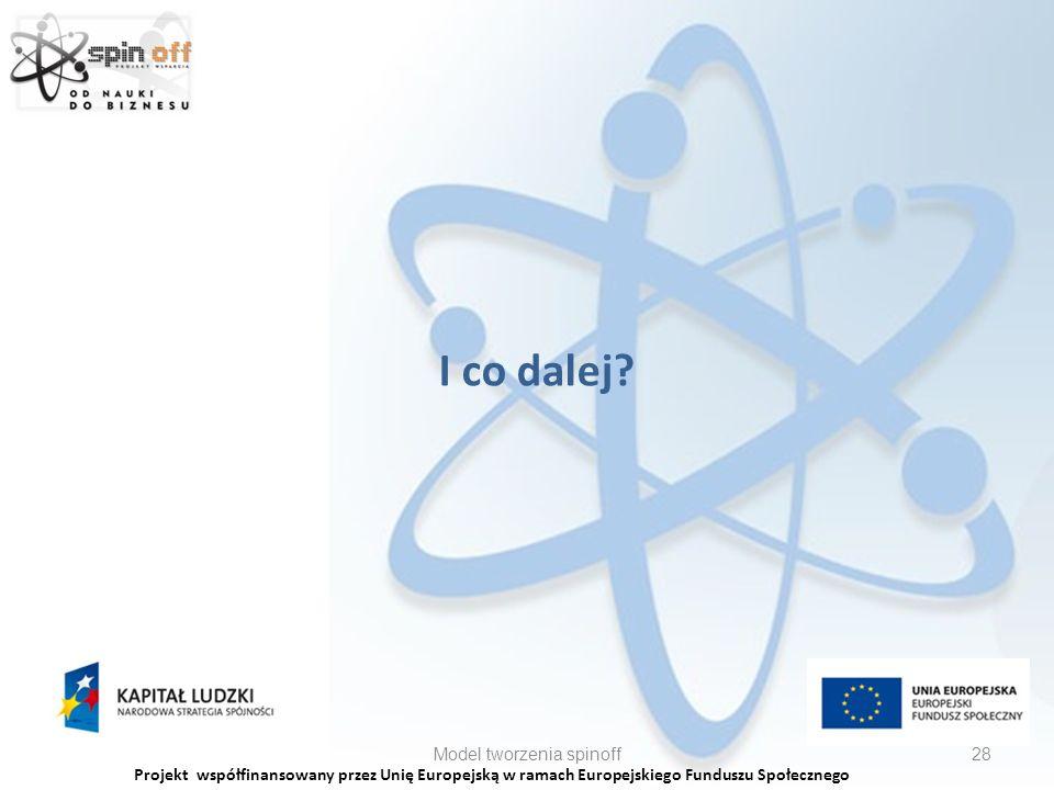 Projekt współfinansowany przez Unię Europejską w ramach Europejskiego Funduszu Społecznego I co dalej.