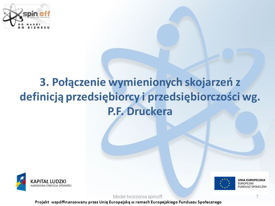 Projekt współfinansowany przez Unię Europejską w ramach Europejskiego Funduszu Społecznego Model tworzenia spinoff18