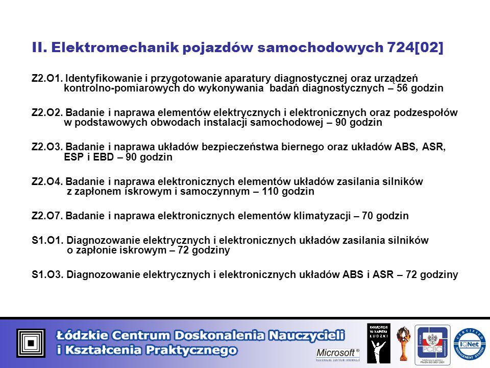 II. Elektromechanik pojazdów samochodowych 724[02] Z2.O1. Identyfikowanie i przygotowanie aparatury diagnostycznej oraz urządzeń kontrolno-pomiarowych