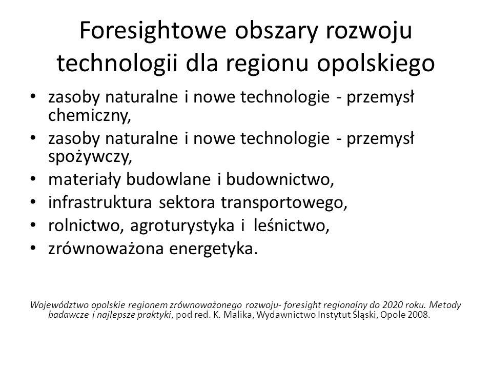 Foresightowe obszary rozwoju technologii dla regionu opolskiego zasoby naturalne i nowe technologie - przemysł chemiczny, zasoby naturalne i nowe tech