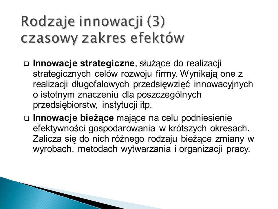 Innowacje strategiczne, służące do realizacji strategicznych celów rozwoju firmy. Wynikają one z realizacji długofalowych przedsięwzięć innowacyjnych
