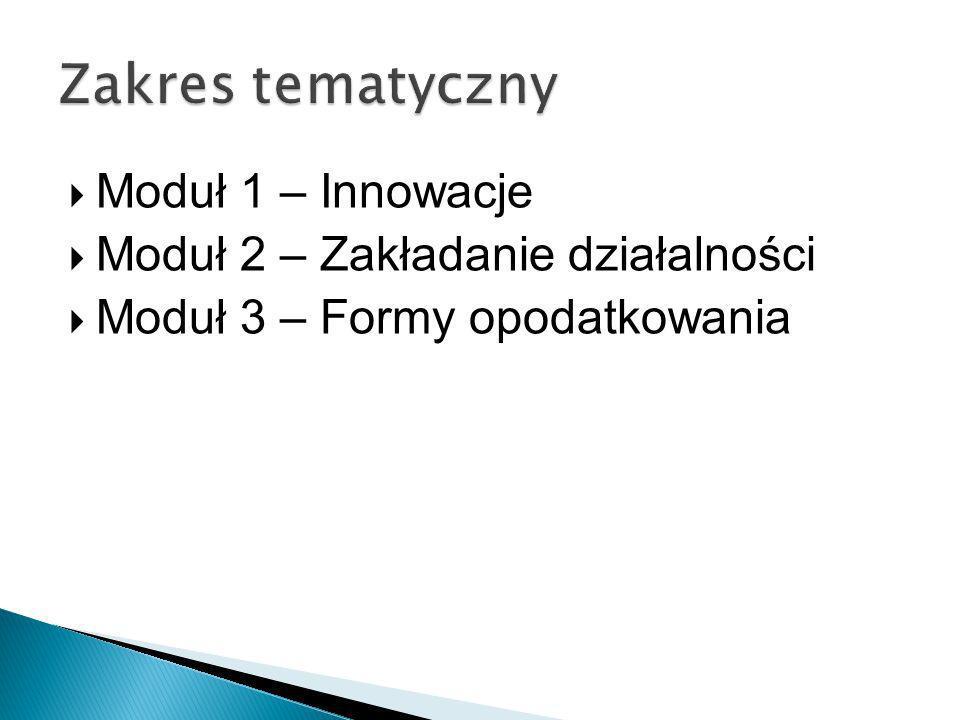 Moduł 1 – Innowacje Moduł 2 – Zakładanie działalności Moduł 3 – Formy opodatkowania