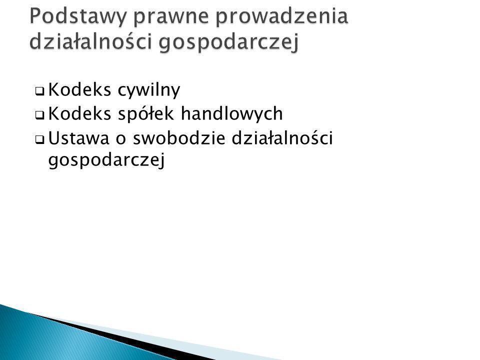 Kodeks cywilny Kodeks spółek handlowych Ustawa o swobodzie działalności gospodarczej