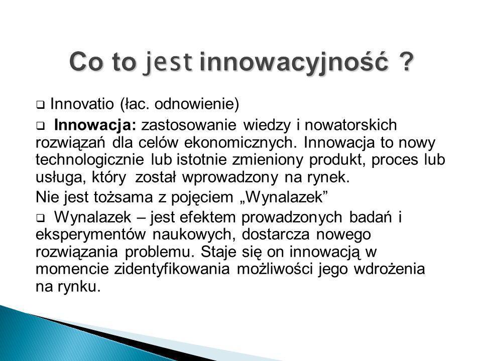 Innovatio (łac. odnowienie) Innowacja: zastosowanie wiedzy i nowatorskich rozwiązań dla celów ekonomicznych. Innowacja to nowy technologicznie lub ist