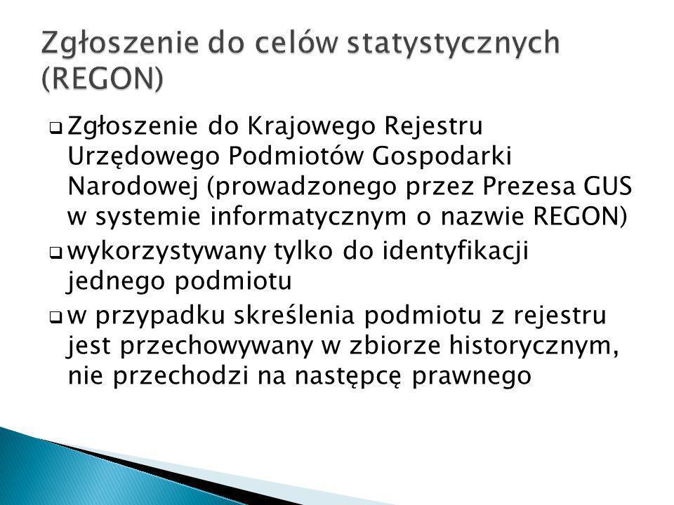 Zgłoszenie do Krajowego Rejestru Urzędowego Podmiotów Gospodarki Narodowej (prowadzonego przez Prezesa GUS w systemie informatycznym o nazwie REGON) w