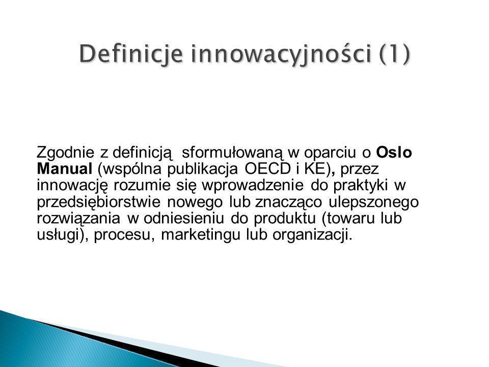 Zgodnie z definicją sformułowaną w oparciu o Oslo Manual (wspólna publikacja OECD i KE), przez innowację rozumie się wprowadzenie do praktyki w przeds