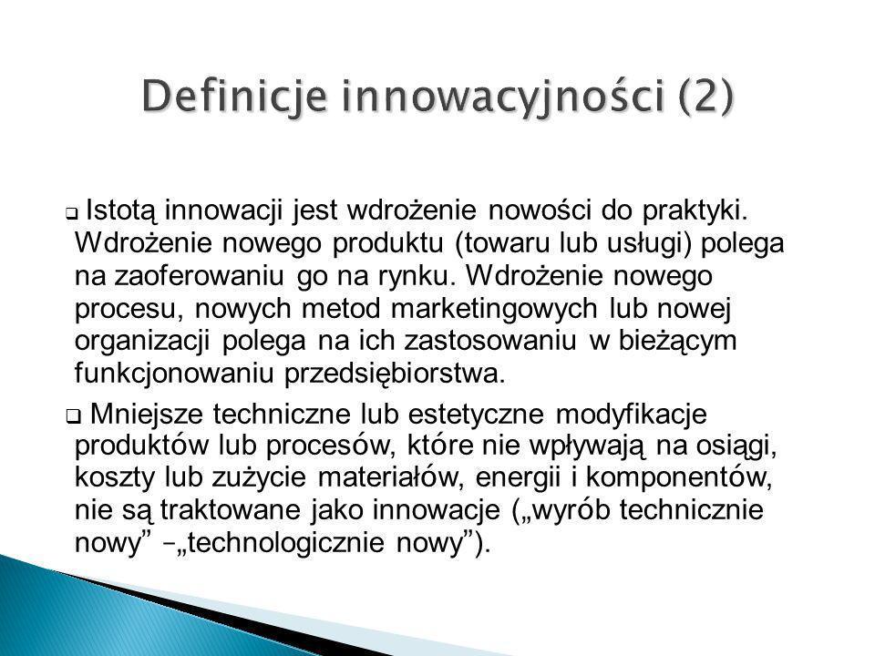Transfer technologii - wdrożenie innowacji Różnorodność mechanizmów transferu technologii, wykorzystanie różnych kanałów transferu (formalne, nieformalne) wykorzystanie różnych źródeł technologii; wewnętrznych lub zewnętrznych zasobów B+R albo ich kombinacji zaangażowanie różnych zasobów (materialnych i niematerialnych pochodzących z różnych źródeł (wewnętrznych, zewnętrznych) TT przybiera różne formy prawne i organizacyjne (joint ventures, franczyza)