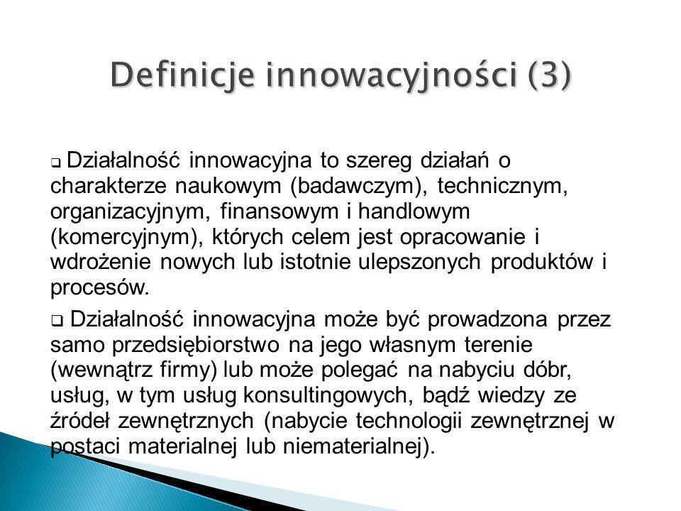Działalność innowacyjna to szereg działań o charakterze naukowym (badawczym), technicznym, organizacyjnym, finansowym i handlowym (komercyjnym), który