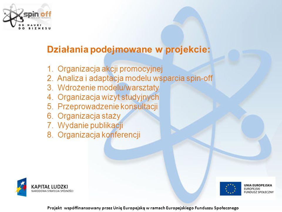 Projekt współfinansowany przez Unię Europejską w ramach Europejskiego Funduszu Społecznego Działania podejmowane w projekcie: 1.