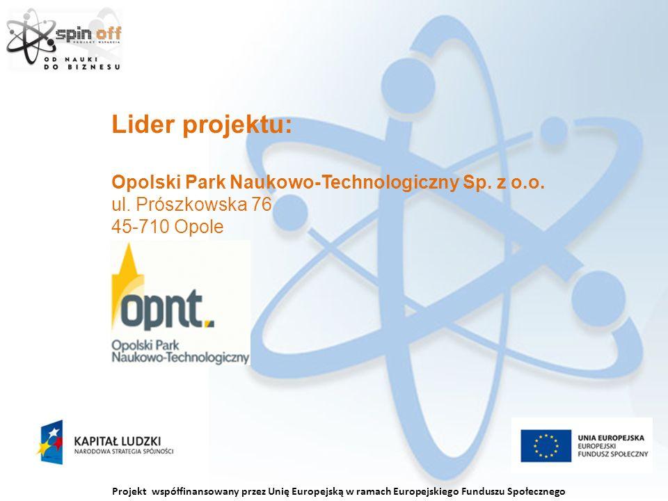 Projekt współfinansowany przez Unię Europejską w ramach Europejskiego Funduszu Społecznego Lider projektu: Opolski Park Naukowo-Technologiczny Sp.