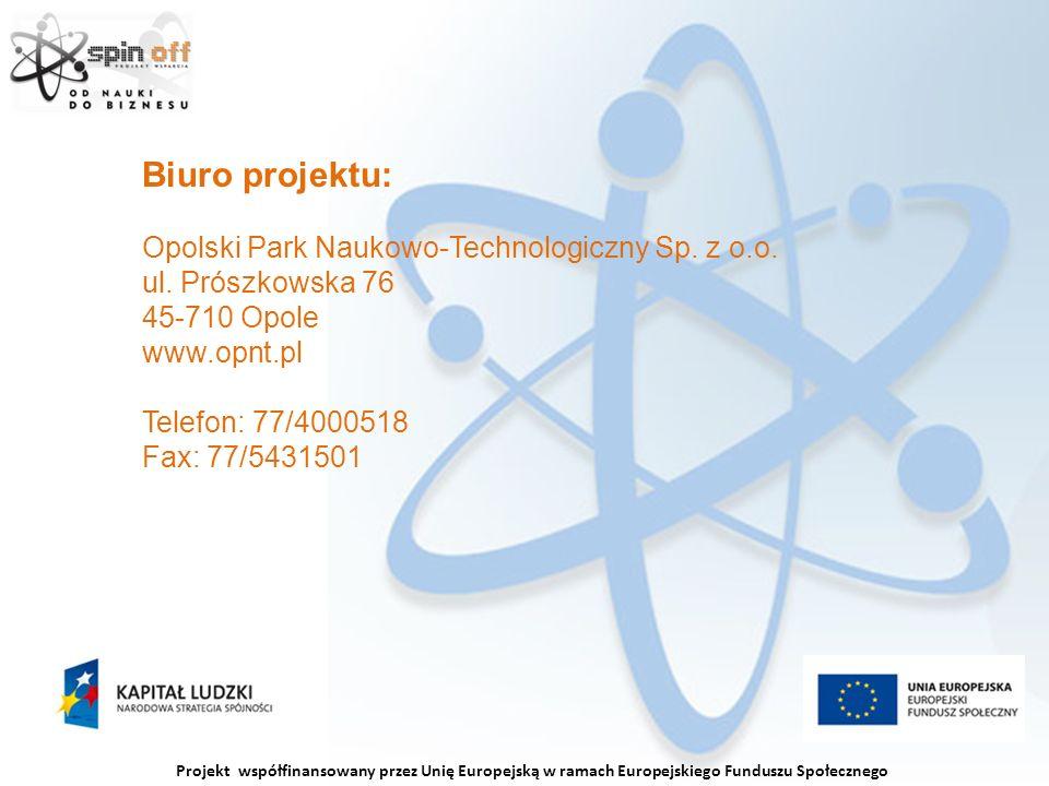 Projekt współfinansowany przez Unię Europejską w ramach Europejskiego Funduszu Społecznego Biuro projektu: Opolski Park Naukowo-Technologiczny Sp.