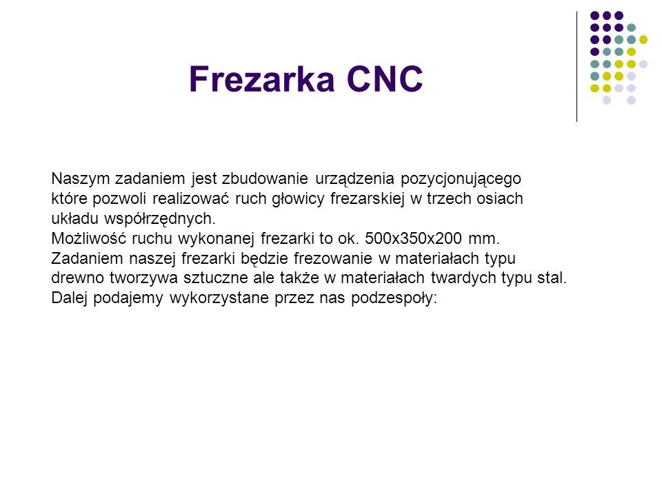 Frezarka CNC Naszym zadaniem jest zbudowanie urządzenia pozycjonującego które pozwoli realizować ruch głowicy frezarskiej w trzech osiach układu współ