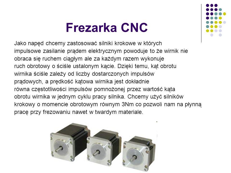 Frezarka CNC Jako napęd chcemy zastosować silniki krokowe w których impulsowe zasilanie prądem elektrycznym powoduje to że wirnik nie obraca się ruche