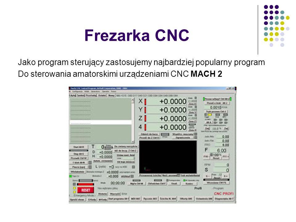 Frezarka CNC Jako program sterujący zastosujemy najbardziej popularny program Do sterowania amatorskimi urządzeniami CNC MACH 2